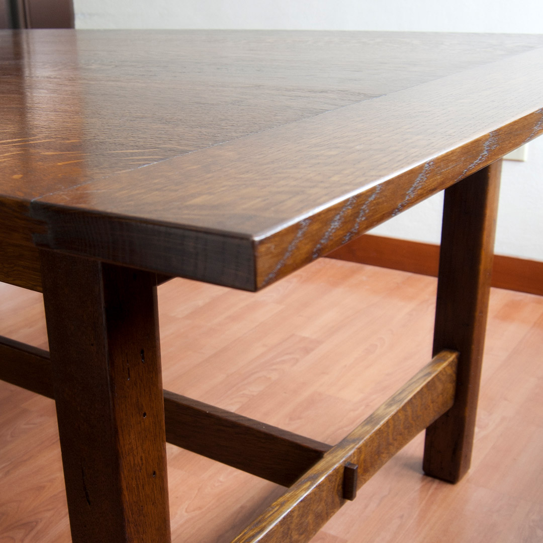 Custom dining room table with breadboard ends